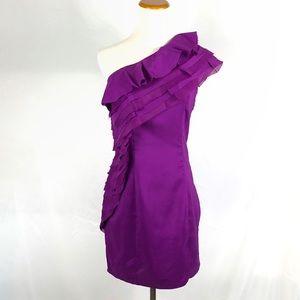 NWT ASOS Purple One Shoulder Pleated Ruffle Dress